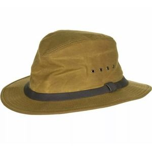 New FILSON Dark Tan Tin Packet Hat Medium